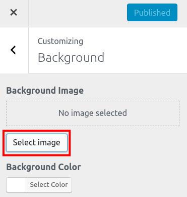 wordpress woocommerce storefront customize background select background image