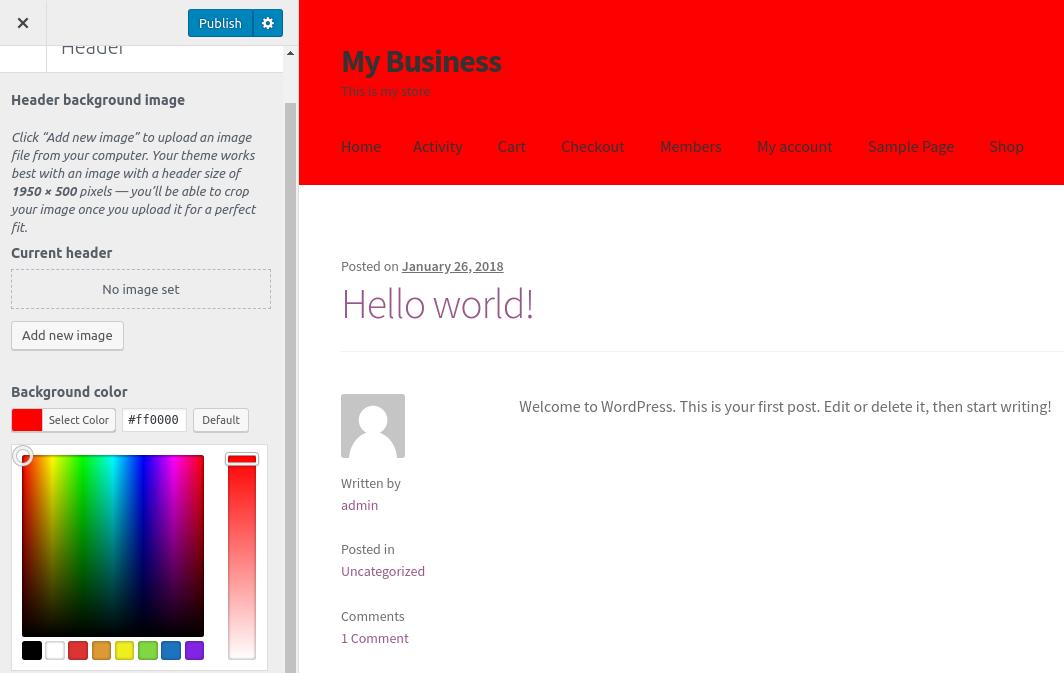 wordpress woocommerce storefront customize header header background color change
