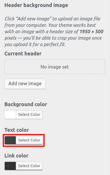 wordpress woocommerce storefront customize header select header text color