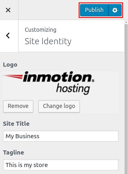 wordpress woocommerce storefront set site identity publish storefront site identity
