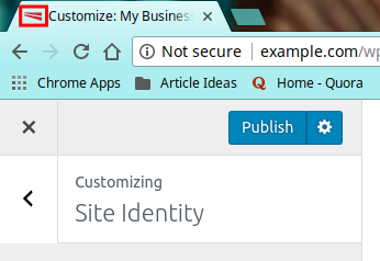 Setting your Site Identity in the Storefront Theme