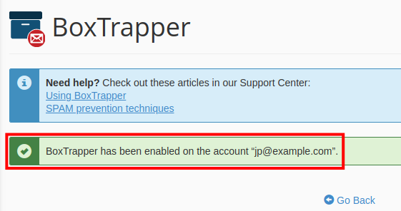 email boxtrapper boxtrapper has been enabled