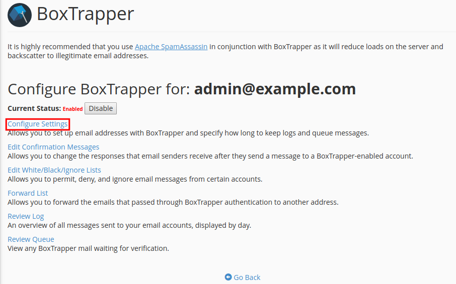email boxtrapper configure settings configure boxtrapper settings
