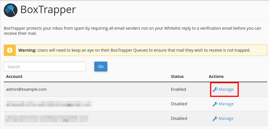 email boxtrapper configure settings manage