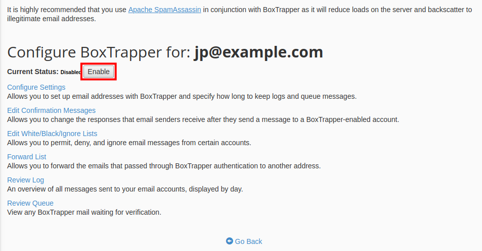 email boxtrapper enable boxtrapper for email