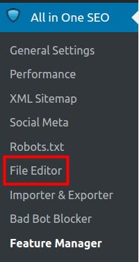 wordpress all in one seo pack file editor access file editor