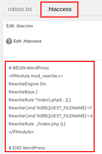 wordpress all in one seo pack file editor view edit htaccess file