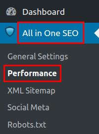 wordpress all in one seo pack performance feature all in one seo performance menu