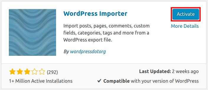 wordpress importer activate wordpress importer plugin