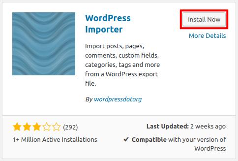 wordpress importer install wordpress importer plugin