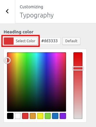 wordpress woocommerce storefront customize typography select heading color