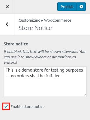 wordpress woocommerce storefront store notice enable store notice
