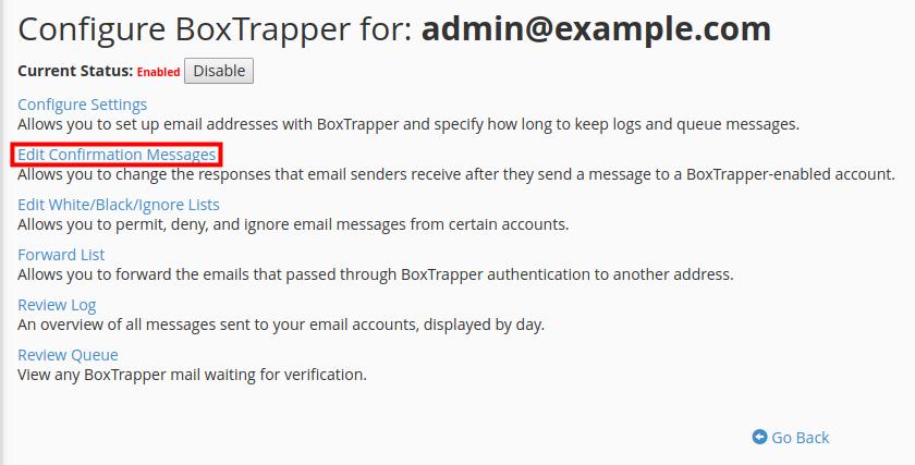 email boxtrapper edit confirmation messages edit confirmation messages