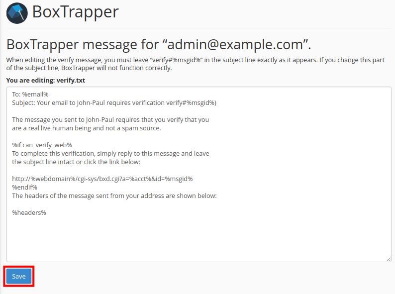 email boxtrapper edit confirmation messages save boxtrapper message