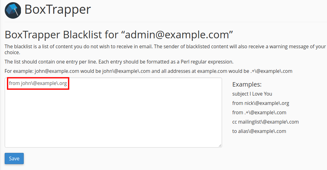 email boxtrapper whitelist blacklist ignore adding blacklist