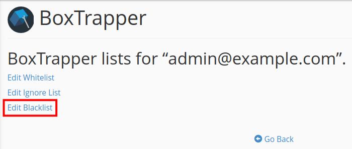 email boxtrapper whitelist blacklist ignore edit blacklist