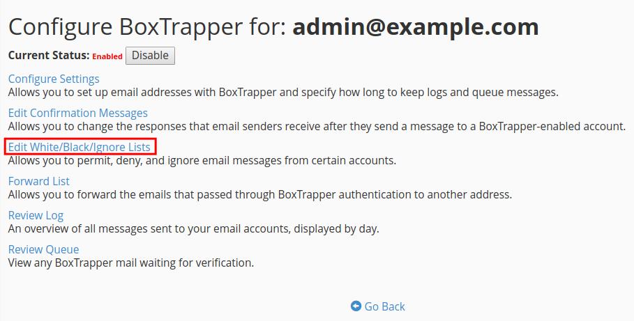 email boxtrapper whitelist blacklist ignore edit whitelist blacklist ignore