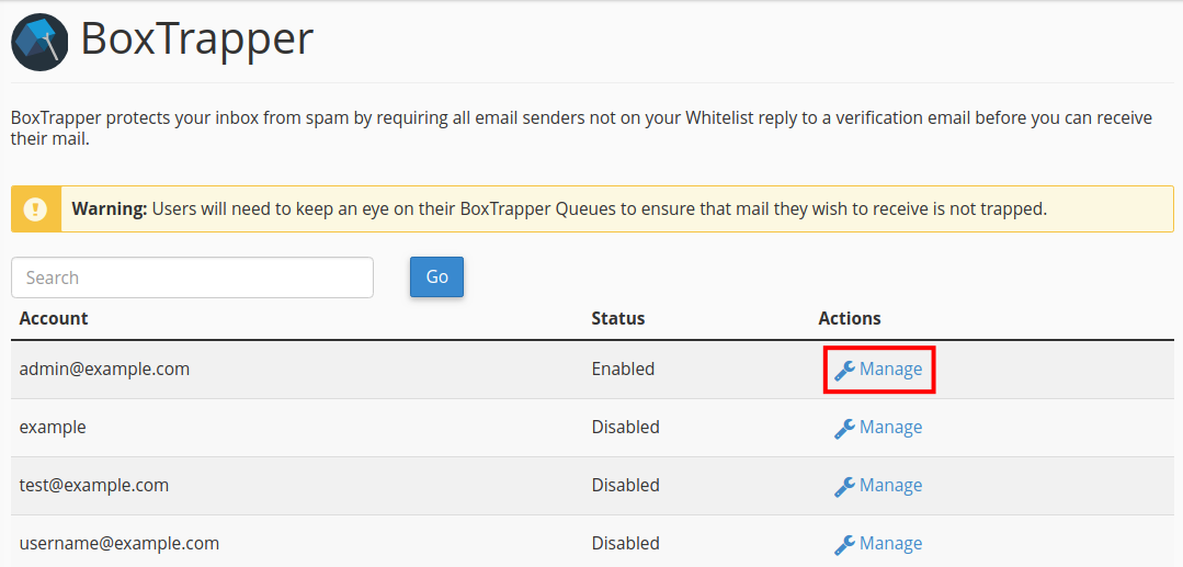 email boxtrapper whitelist blacklist ignore manage email account