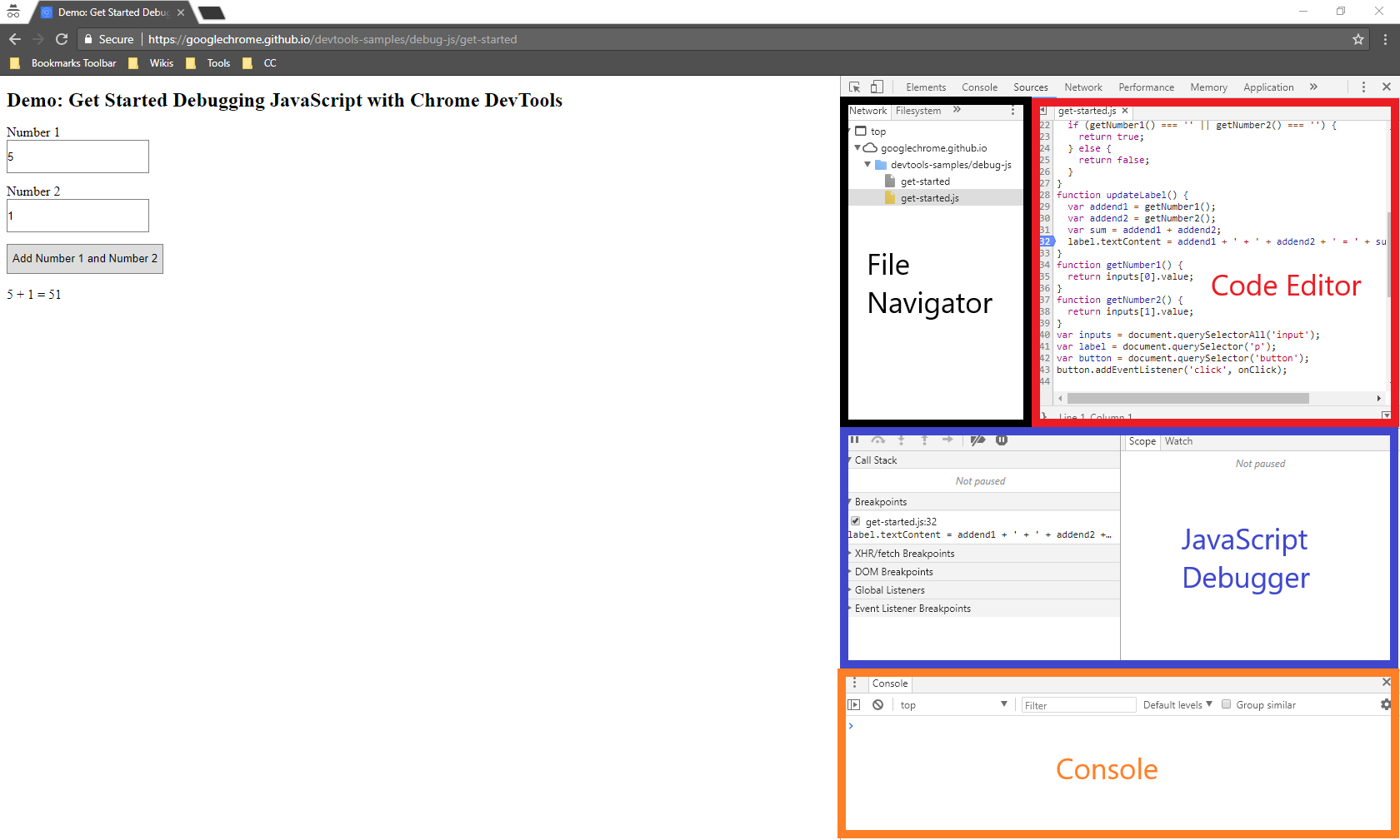 Google Chrome Developer Tools pane opened as partial width and panes labeled.
