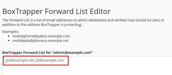email boxtrapper edit forward list boxtrapper forward list addresses