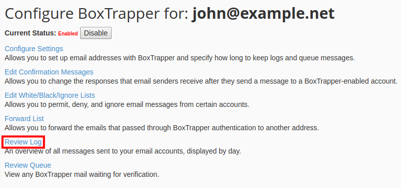 email boxtrapper review mail logs review boxtrapper log