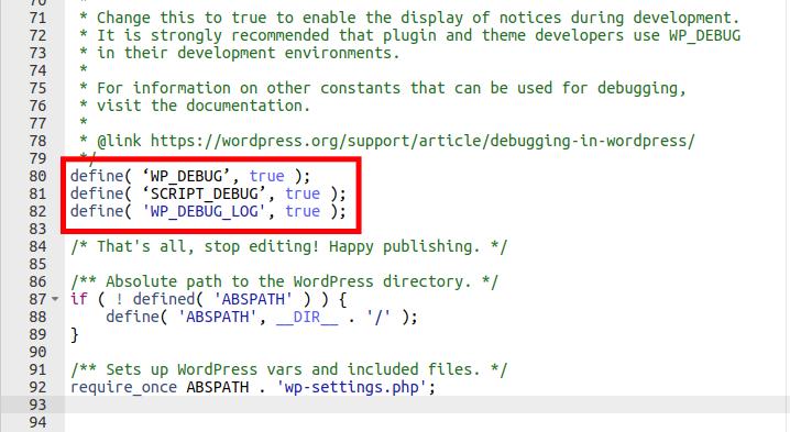 Enabling WordPress Debugging in the wp-config.php File