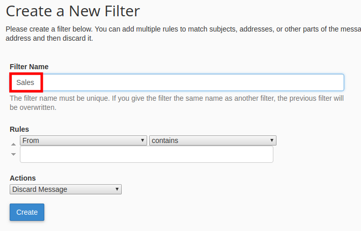 webmail email filter enter email filter name