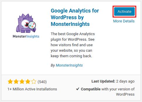 wordpress google analytics by monsterinsights activate google analytics
