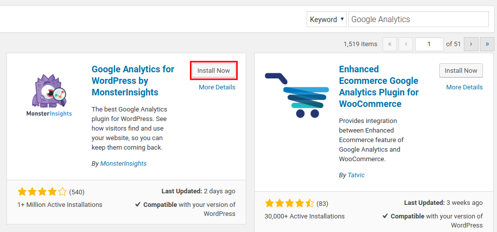 wordpress google analytics by monsterinsights install google analytics