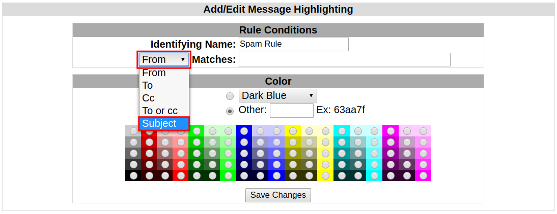 How to use Message Highlighting in Squirrel Mail | InMotion Hosting