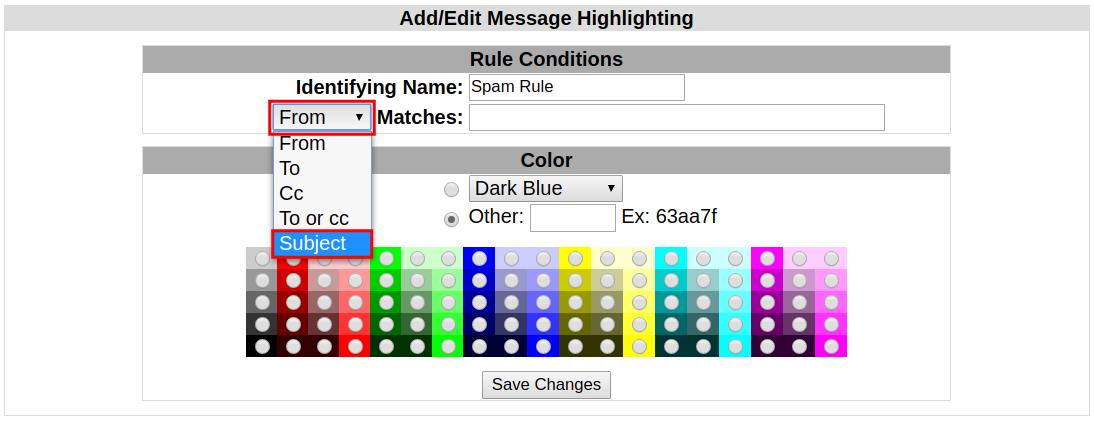 webmail squirrelmail highlighting field option