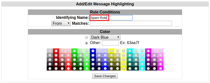 webmail squirrelmail highlighting name highlight rule