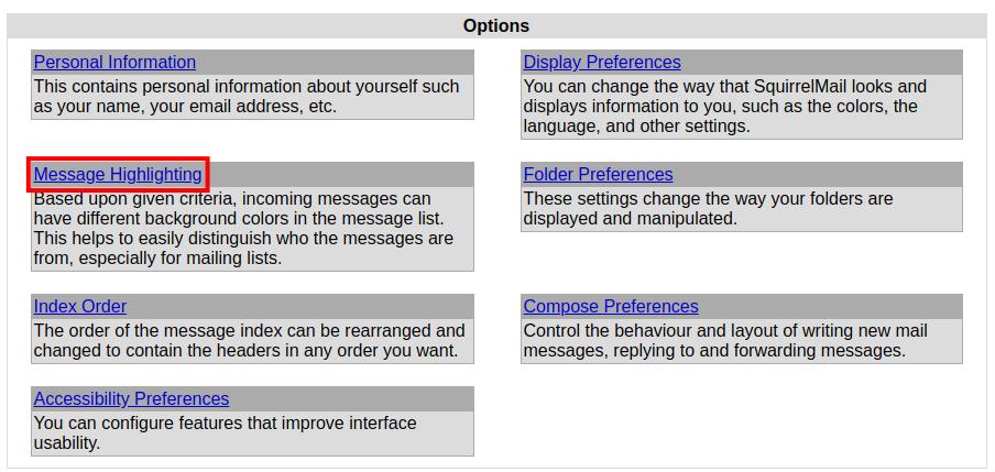webmail squirrelmail highlighting squirrelmail message highlighting