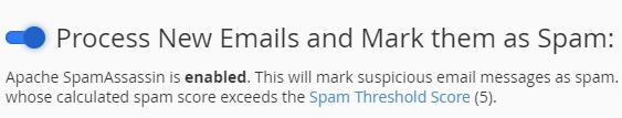 enable SpamAssassin toggle