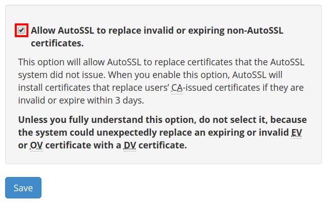 Box to check to allow certificate replacement.
