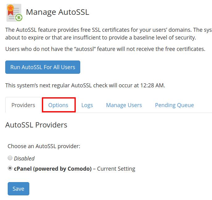 Options to Manage AutoSSL