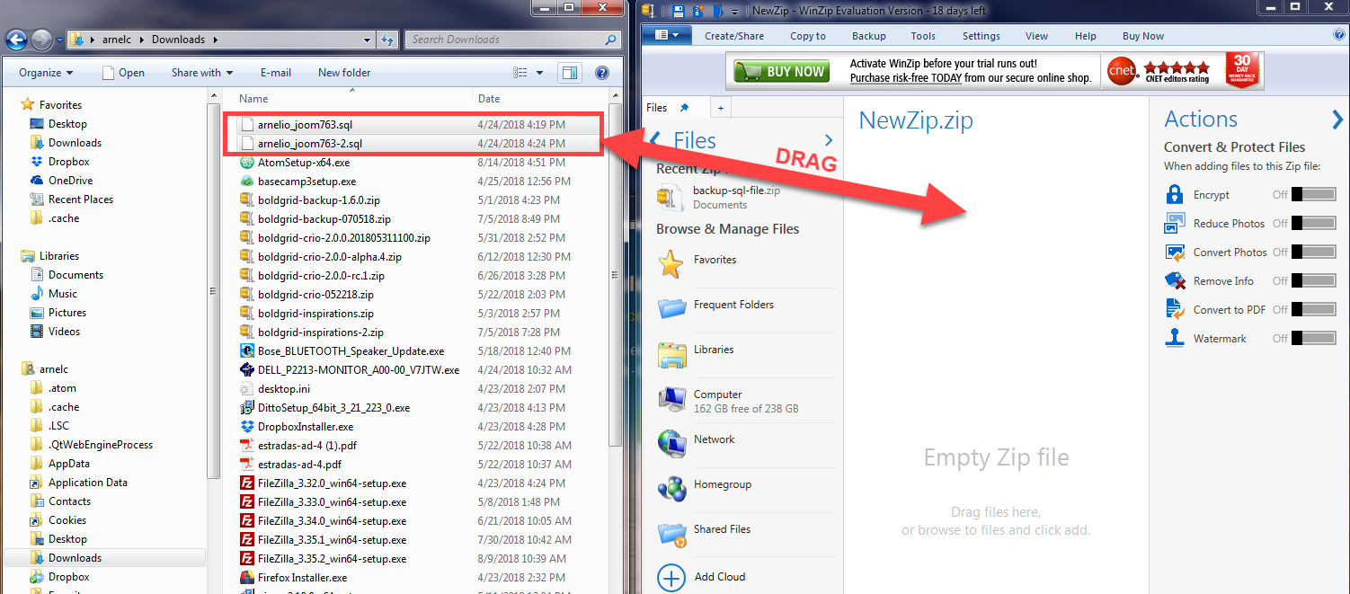 Drag file to Winzip