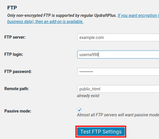 wordpress updraftplus ftp backup test ftp settings