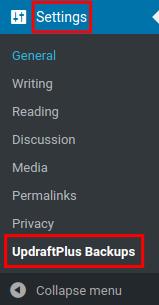 wordpress updraftplus site information updraftplus settings