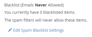 Edit Spam Blacklist Settings link displayed under the Blacklist (Emails Never Allowed) section.