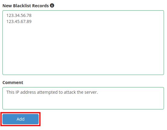 dedicated hosting blacklist whitelist add ip to blacklist