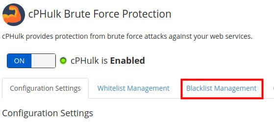 dedicated hosting blacklist whitelist cphulk blacklist manager