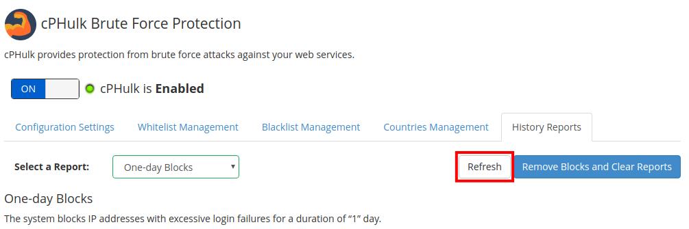 dedicated hosting blacklist whitelist refresh reports