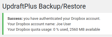 wordpress updraftplus dropbox backup dropbox success