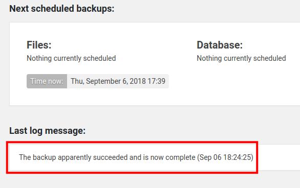 wordpress updraftplus email backup backup succeeded