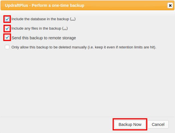 wordpress updraftplus email backup email backup now