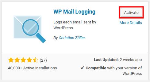 wordpress wp mail logging activate wp mail logging
