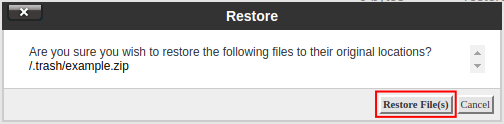 cpanel file manager restore trash restore files from trash