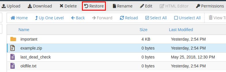 cpanel file manager restore trash restore trash in file manager