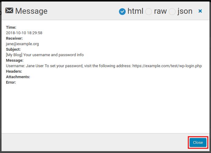 wordpress wp mail logging close mail log